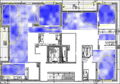 Feuchtigkeitsverteilung in einem Fußbodenaufbau