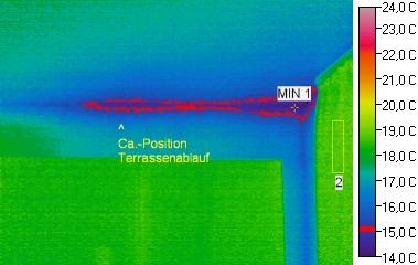 Thermografie des Schimmelbefalls in der Deckenkehle